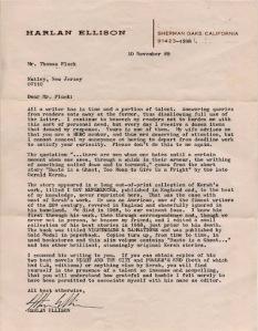 Writing to Harlan Ellison