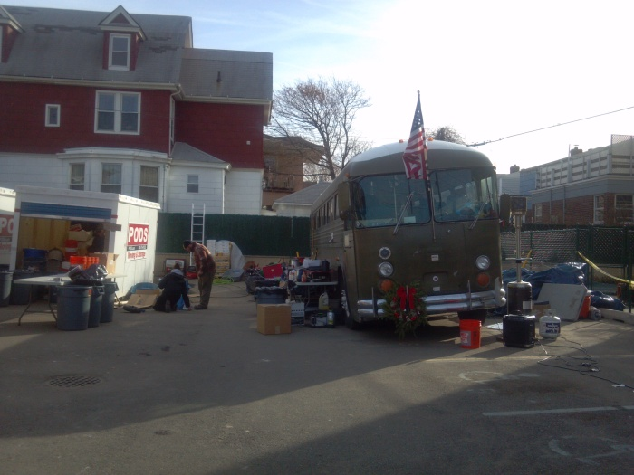 The forward operating base and the bus from Team Rubicon