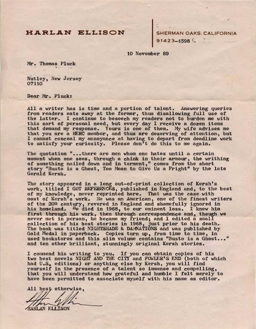 Harlan Ellison letter