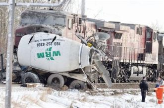 cement truck train crash